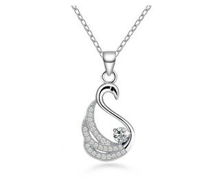 Cubic Zirconia Swan Sterling Silver Pendant