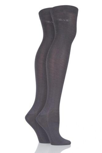 Ladies 2 Pair Elle Plain Bamboo Over The Knee Socks