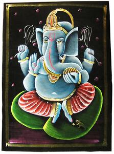 GANESH-Lord-Ganesha-Samtbild-52x70-cm-Wandbehang-schwarzer-Samt-GANAPATI-INDIEN