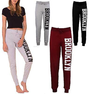 Original Womens Side Brooklyn Print Loungewear Trouser Ladies Fleece Bottom Jogging Pant Um 50 Prozent Reduziert