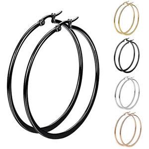 2-Pairs-Women-Jewelry-Stainless-Steel-Big-Large-Circle-Hoop-Dangle-Earrings-Ear