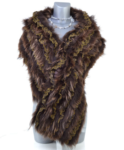 Shoulder Brown Fur Zaza2cats Stole Veritable Bolero Heater di Raccoon 6vbfgY7Iy