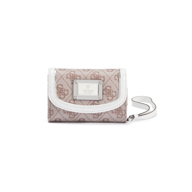 release date: cute cheap special for shoe GUESS Skya Phone Wristlet Silver Tone Wallet for Women's White