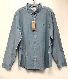 Original-Penguin-Men-s-Heritage-Slim-Fit-Blue-Solid-Button-Down-Shirt-Size-XXL