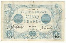 RARE 5 FRANCSBLEU AOUT 1912  dans son jus non touché COTE 120 EURO