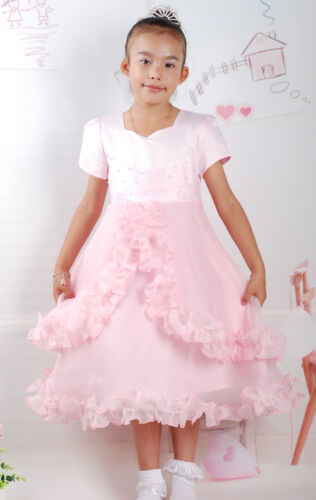 Flower Girl Dress Party Bridesmaid Dress  Pink Ivory 3 4 5 6 7 8 9 Years