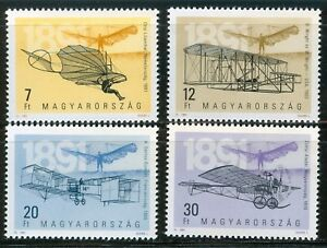 HUNGARY-1991-Aircraft-of-Aviation-Pioneers-Airplane-MNH-Mi-4151-4154