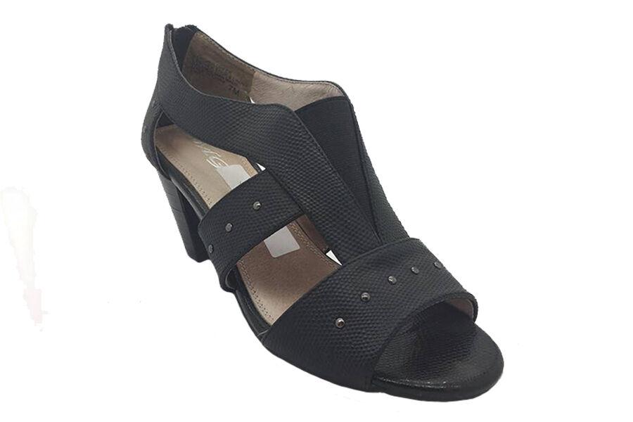 Ladies scarpe Heels MG Pine nero Leather Studded Peep Toe Heel scarpe Dimensione 7-10