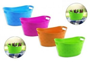 Small Plastic Bright Coloured Ice Drinks Bucket Flexi Tub Carrier ...