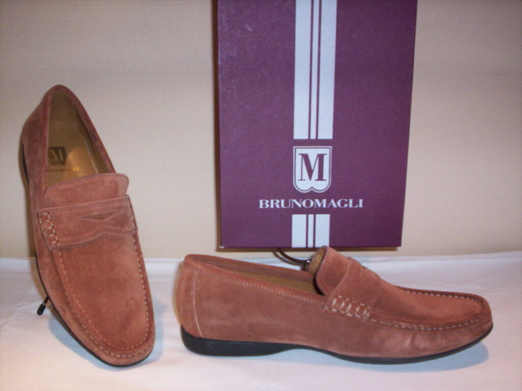 Bruno Magli shoes Moccasins Casual Man Made in  Leather Suede Brown 42