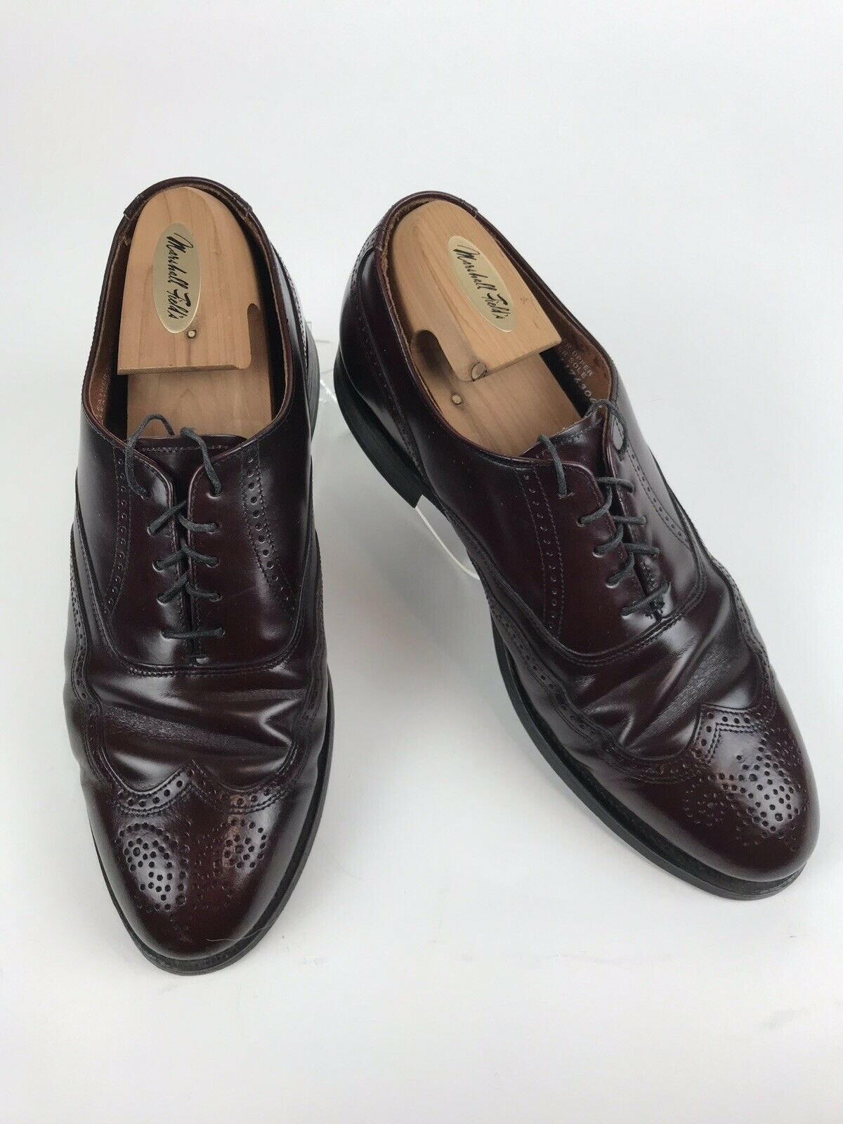 STAFFORD Comfort Plus Mens 10.5 E C Burgundy Leather Wingtip Brogue Oxford shoes