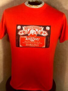 279cfbee Vintage 80's Missouri Tigers Budweiser Beer Red Graphic T-Shirt ...