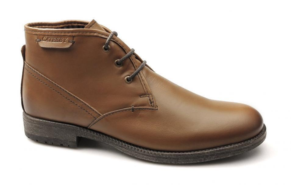 Catesby shoesmakers ELWOOD Mens Casual Soft Leather Derby Lace-Up Boots Tan Brown