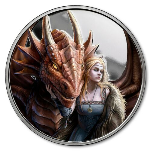 Anne Stokes Dragons Series Friend Or Foe Silver Colorized PF Round W//Capsule//COA