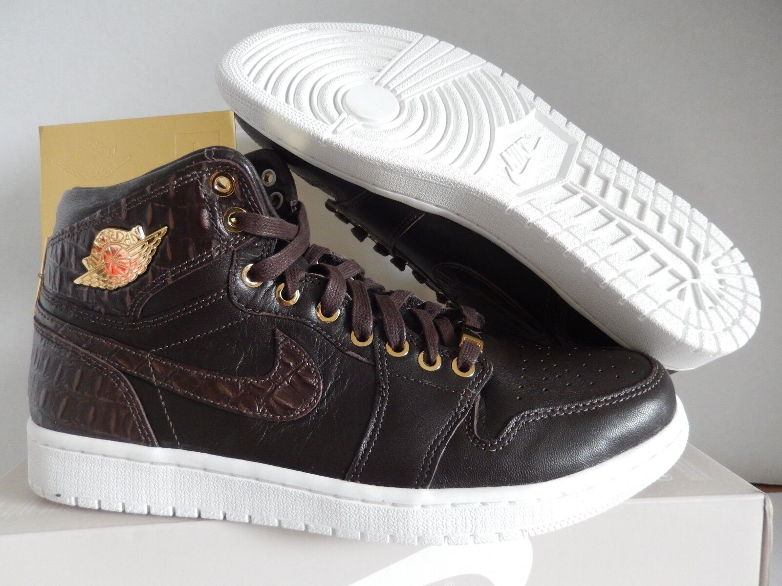 NIKE AIR JORDAN 1 PINNACLE BBQ BROWN-METALLIC GOLD-WHITE SZ SZ SZ 8 [705075-205] b6a4a3
