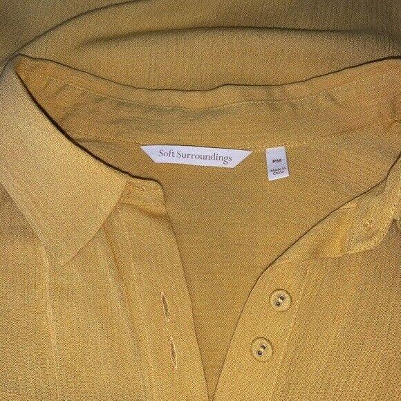 Soft Surroundings mustard yellow tunic blouse Sz M - image 5