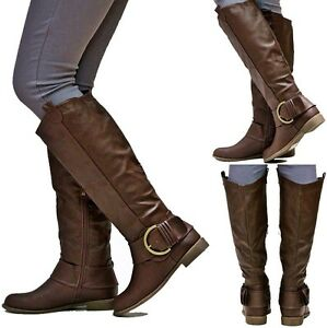 New Womens EJ2 Brown Buckle Cowboy Western Knee High Riding Boots ...