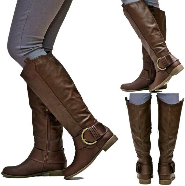 New Womens EJ2 Brown Buckle Cowboy Western Knee High Riding Boots Sz 6 to 11