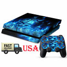 Blue Skul Game Decal Cover Skin Sticker For PS4 PlayStation Console 2 Controller