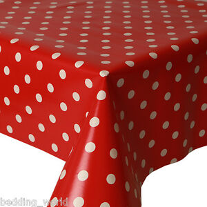 Image Is Loading PVC TABLE CLOTH POLKA DOT RED WHITE SPOTS