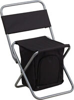 Kids Folding Camping Chair With Insulated Storage In Black