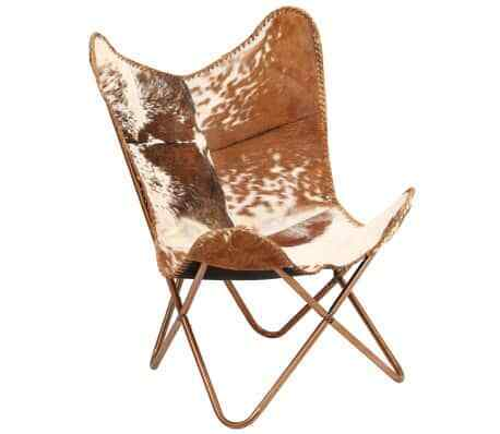 Brown White Vintage Style Cow Print Goat Leather Home Retro Butterfly Chair Seat