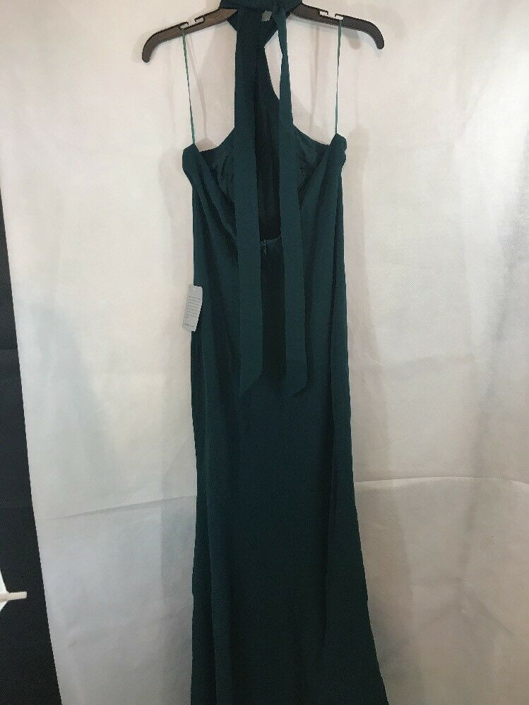 NEW NEW NEW Dress The Population Taylor Crepe Halter Gown Pine Green [SZ Large]  e167 d163c5