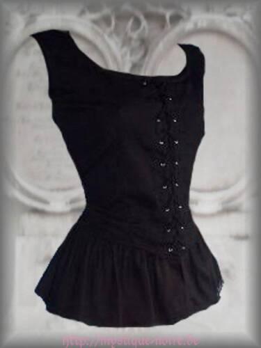 Barock Romantische Modesty 36 44 Mittelalter Gothic Schwarz Mieder Bluse xwwqSYgz