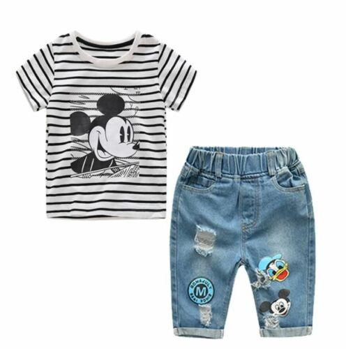 Infant Boys Girls Summer Cartoon Striped T Shirt Denim Shorts Clothes Jeans
