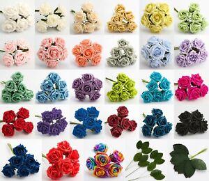 5cm-Mousse-Roses-Bouquet-de-6-Artificiel-Mariage-Bouquet-Teint-Fleurs-Branches