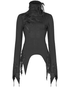 Punk-Rave-Womens-Gothic-Top-Black-Long-Sleeve-Shredded-Destroyed-Apocalyptic