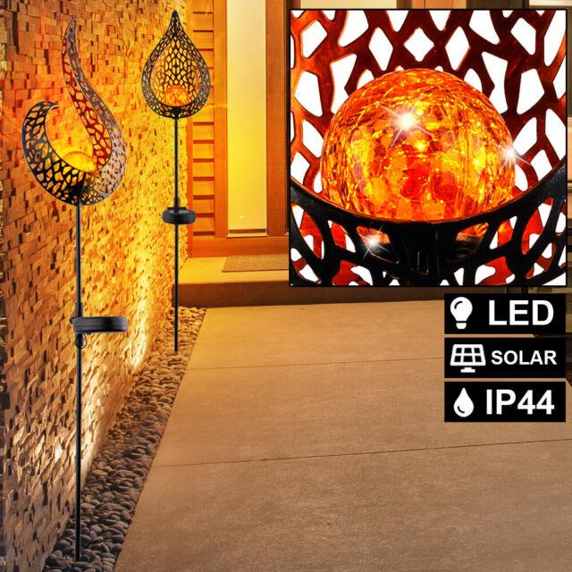 LED SOLAR Flammen Feuer Effekt Leuchte GOLD Design Glas Kugel Haus Garten Lampen