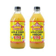 2 bottiglie di Bragg MELA ACETO di sidro (2x473 = 946ml) RAW unfiltered with madre