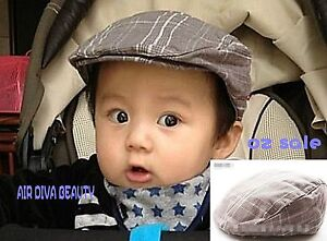 Baby kids Boys Check Beret cool handsome Cabbie Golf Pageboy party ... e3642dd2867