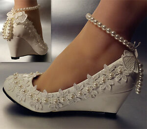 f8c1c440e06 su.cheny Lace white ivory crystal flats low high heel wedge Wedding ...