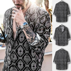 Mens-Leopard-Print-African-Dashiki-Floral-T-Shirt-Long-Sleeve-Collar-Shirts-US