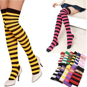 b842f26c752 Women Girl Striped Thigh High Stockings Plus Size Over The Knee ...