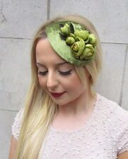Olive Green Flower Fascinator Teardrop Races Vintage Hair Clip Headpiece 2651