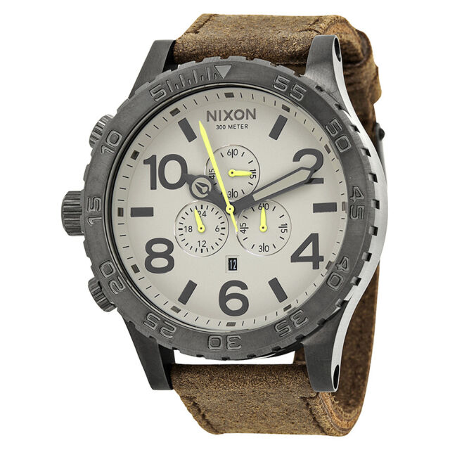 Nixon 51-30 Chronograph Grey Dial Brown Leather Mens Watch A1241388