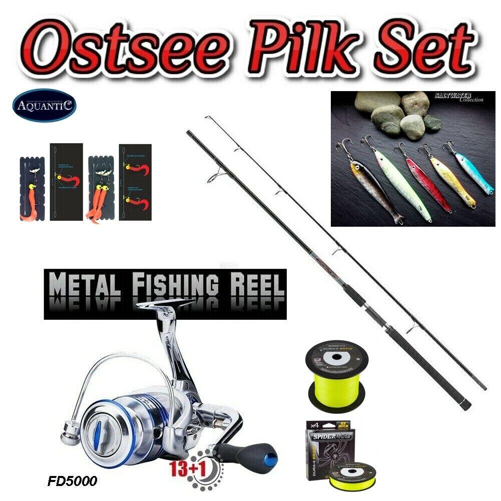 Top Ostsee Pilk - plett -Set Rute Wurfgewecht bis 140g Metallrolle 13 1BB