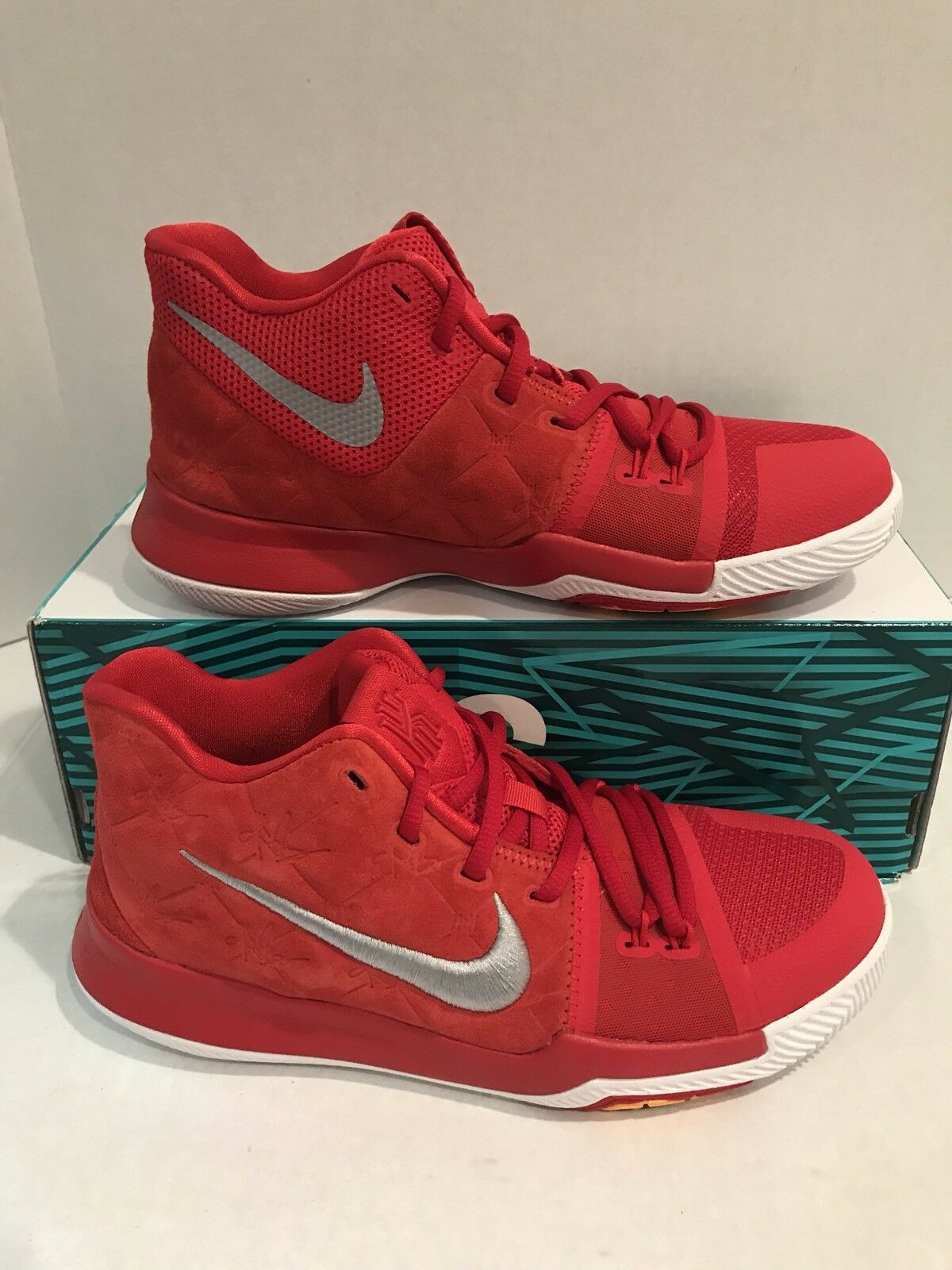 on sale a04e5 bab22 Nike Kyrie 3 University Red Suede GS Grade School Size 859466 601