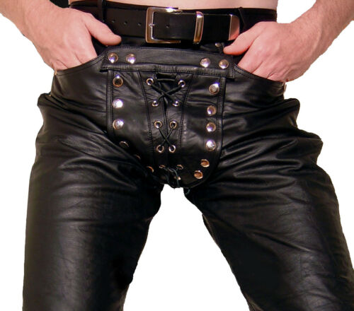 Lederhose schwarz Hose Lederjeans NEU gay Cod piece leather pants trousers Cuir