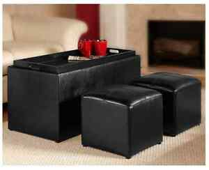 Ottomans As Coffee Tables Storage Square Black Bench Faux Leather