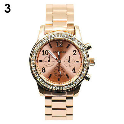 Geneva Bling Crystal Women Girl Unisex Stainless Steel Quartz Wrist Watch BHBU