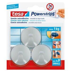 Tesa-power-strips-small-gancio-adesivo-rotondo-cromato-57578-max-1Kg-3-pz-sicuro