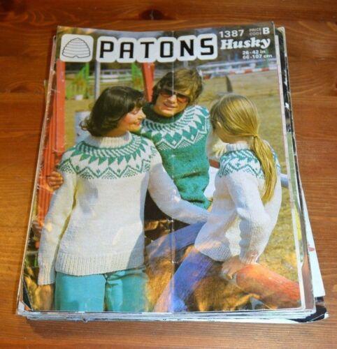 KNITTING PATTERN 1387 VINTAGE SCANDINAVIAN SWEATER HUSKY CHUNKY PATONS