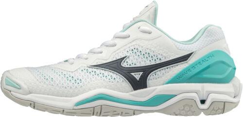 White Mizuno Wave Stealth V Womens Netball Shoes