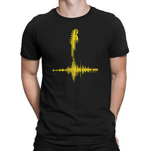 Mens-YELLOW-GUITAR-FREQUENCY-Music-T-Shirt-Electric-Acoustic-Bass-Guitarist
