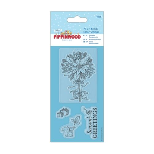 Docrafts Clear Stamp Set Pippinwood Christmas Collection POINSETTIA