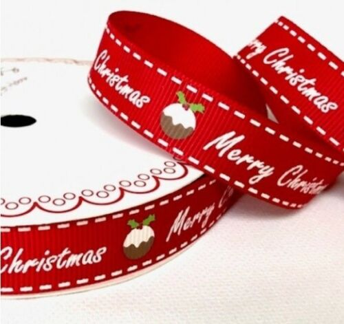 1m 3m 5m 10m 20m BERTIES BOWS Red 16mm Grosgrain MERRY CHRISTMAS PUDDING Ribbon